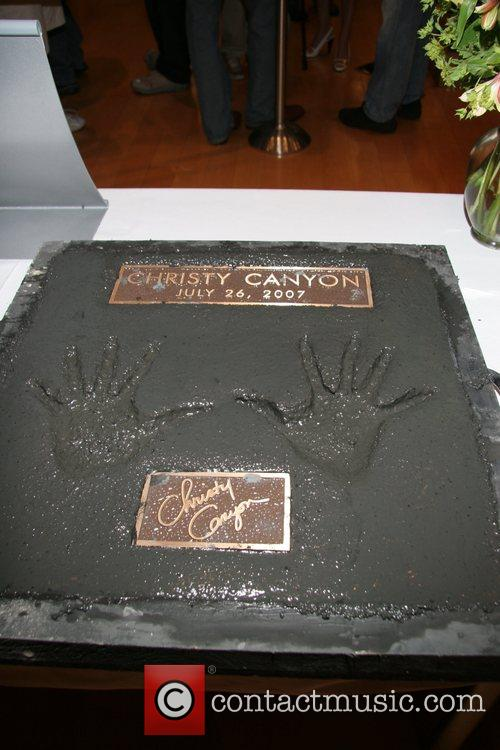 Christy Canyon's Handprints In Cement 1
