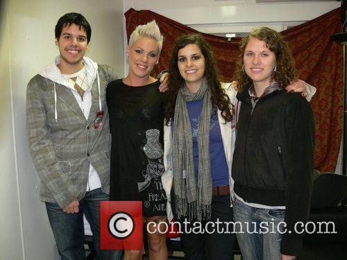 Pink (Alecia Moore) with winners of a