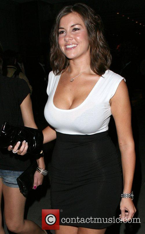 Imogen Thomas leaving the Sanderson Hotel, sporting a...