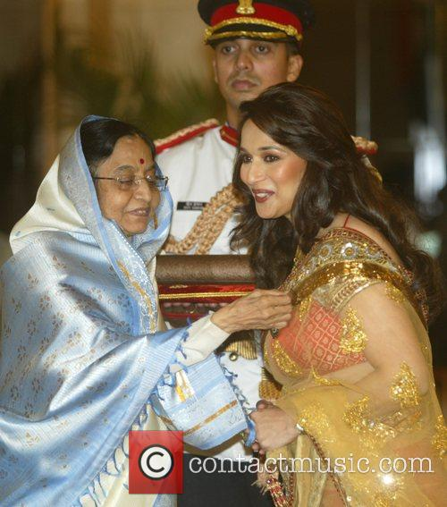 Madhuri Dixit Nene receives the Padma Shri from...