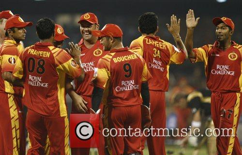 Bangalore Royal Challengers team celebrates during the match...