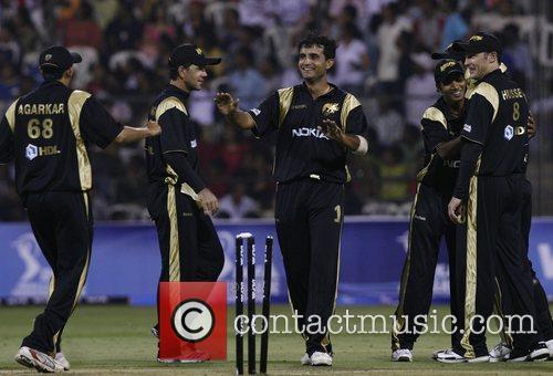 Kolkata Knight Riders captiain Sourav Ganguly (center without...