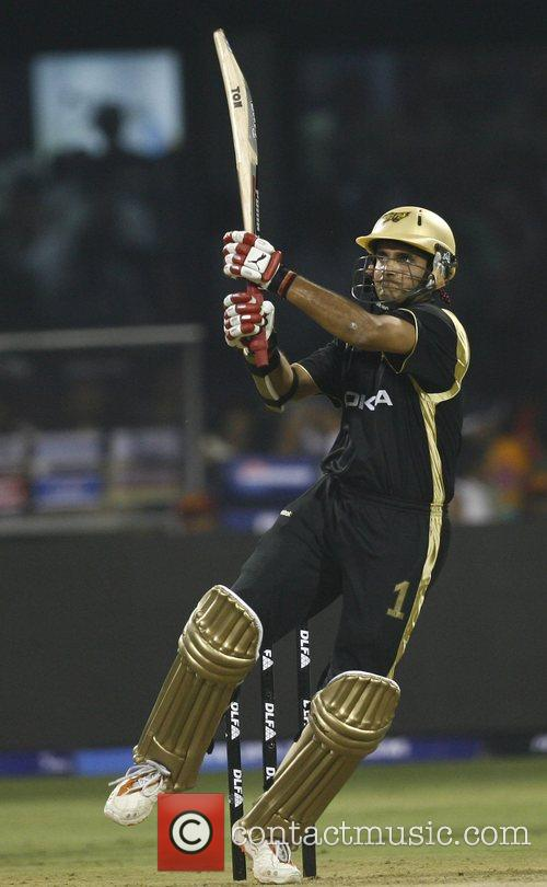 Kolkata Knight Riders captiain Sourav Ganguly plays a...