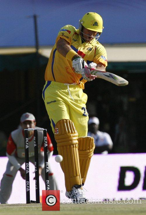 Chennai Super Kings Matthew Hayden plays a shot...