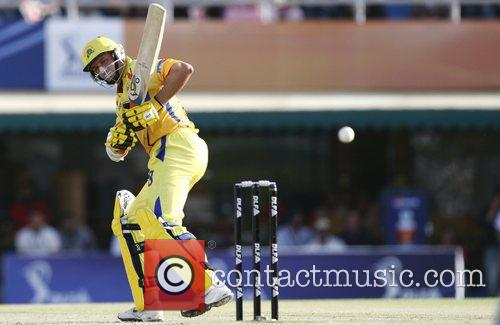 Chennai Super Kings Michael Hussey plays a shot...