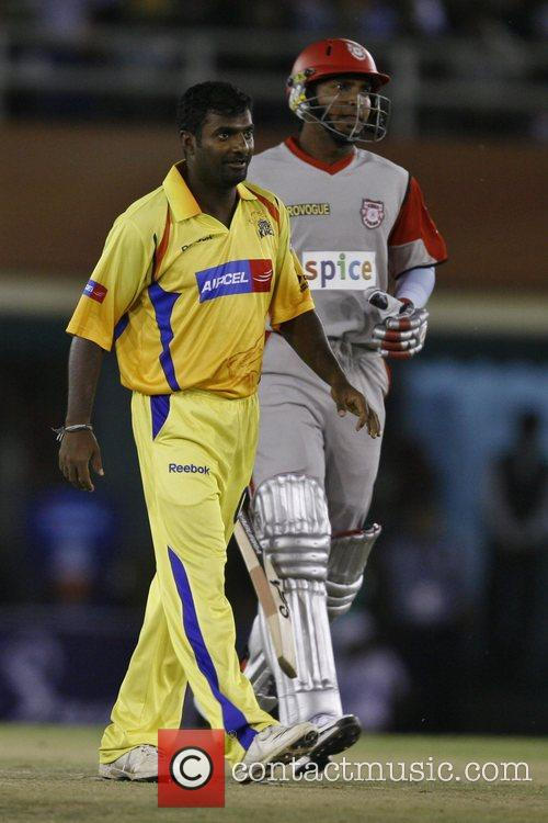 Chennai Super Kings Muttiah Muralitharan plays a shot...