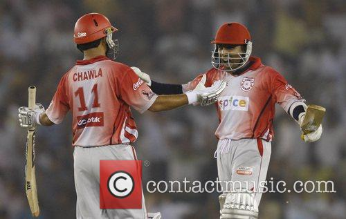 Piyush Chawla and Mahela Jayawardene of Kings XI...