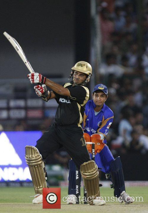 Kolkata Knight Riders captain Sourav Ganguly plays a...
