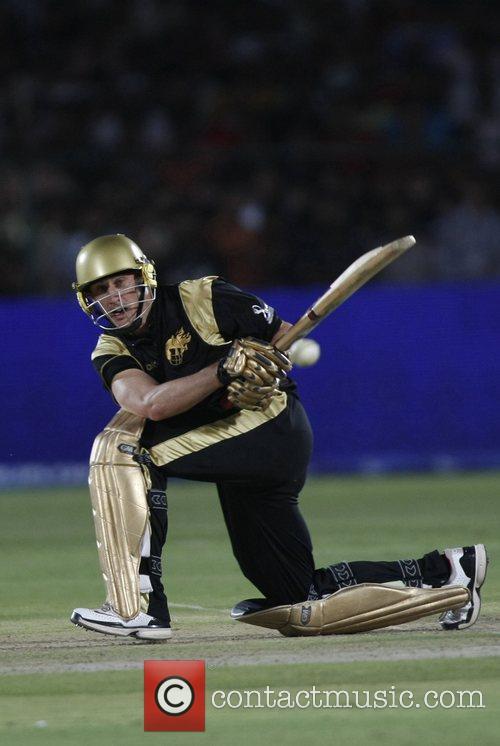 Kolkata Knight Riders David Hussey plays a shot...
