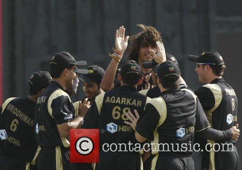 Kolkata Knight Riders Ishant Sharma and his teammates...