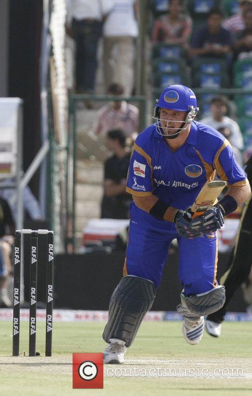 Rajasthan Royals' Graham Smith plays a shot during...