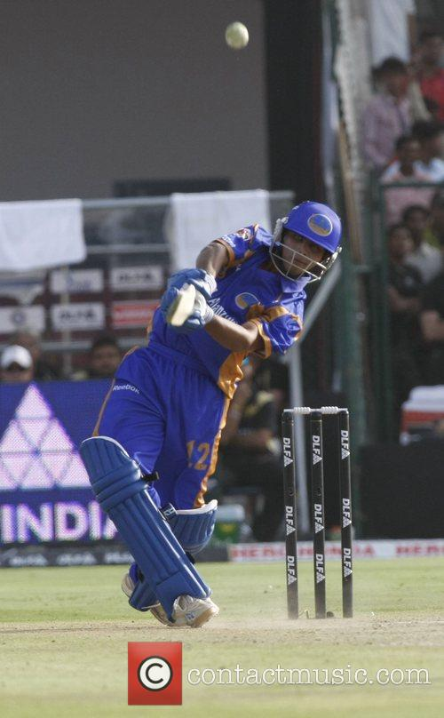 Rajasthan Royals' Ravindra Jadeja plays a shot during...