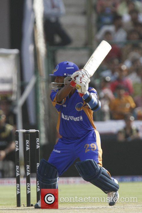 Rajasthan Royals' Swapnil Asnodkar takes a run during...