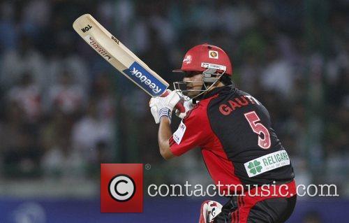 Delhi Daredevils Gautam Gambhir plays a shot during...