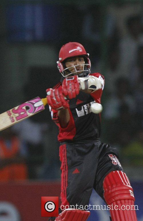 Delhi Daredevils parveez Maharoof plays a shot during...