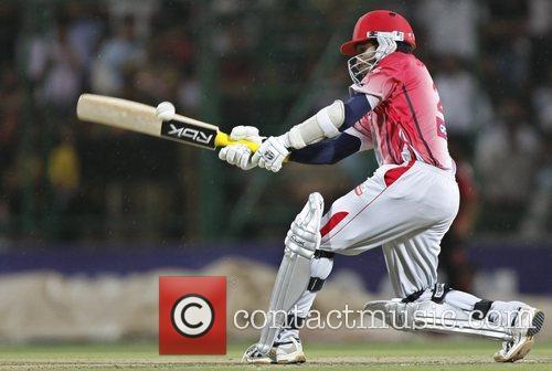 Mahela Jayawardene of Kings XI Punjab team plays...