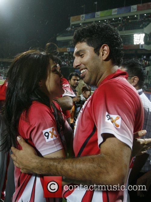 Preity Zinta with Yuvraj Singh captain of Kings...