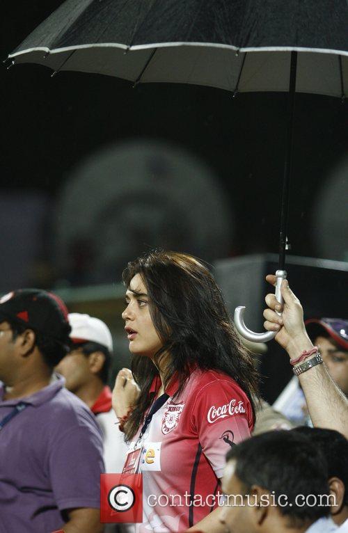 Preity Zinta during the Delhi Daredevils vs Kings...