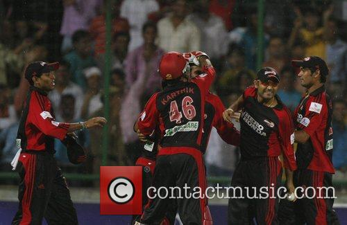 Virender Sehwag (2nd right) captain of Delhi Daredevils...