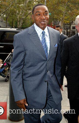New York Knicks president Isaih Thomas arrives at...