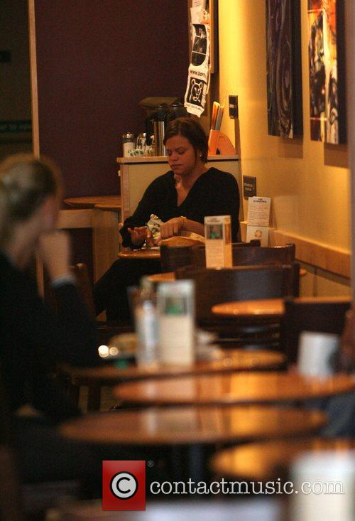 Jade Goody visiting Starbucks coffee shop to purchase...