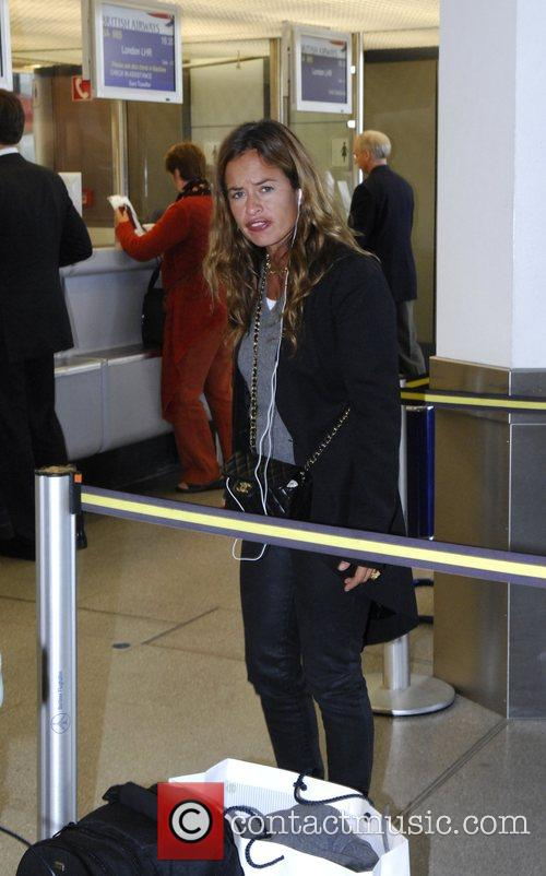 Jade Jagger in Tegel Airport preparing to board...