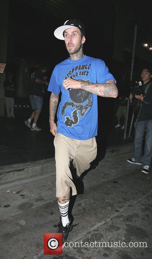 Travis Barker leaving Katsuya restaurant Hollywood, California
