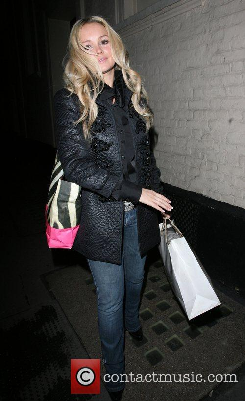 Jennifer Ellison leaves the Comedy theatre after her...