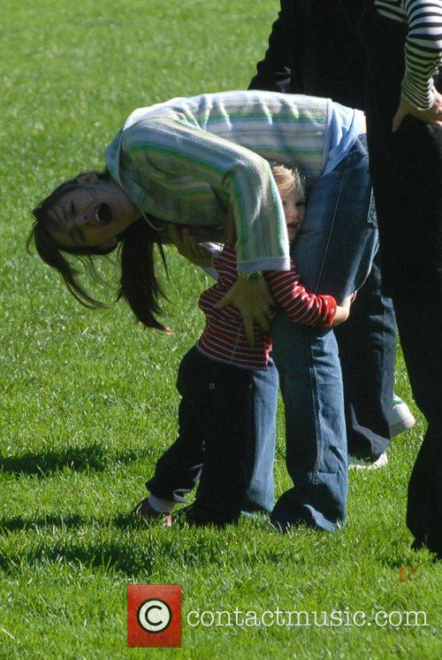 Jennifer Garner, daughter Violet Anne play on the swings and have a game of football when they visited the playground on the Great Lawn in Central Park 12