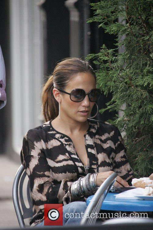 Jennifer Lopez enjoying a calorific lunch of creamy...