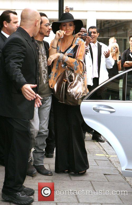 Jennifer Lopez and husband Mark Anthony arrive at...