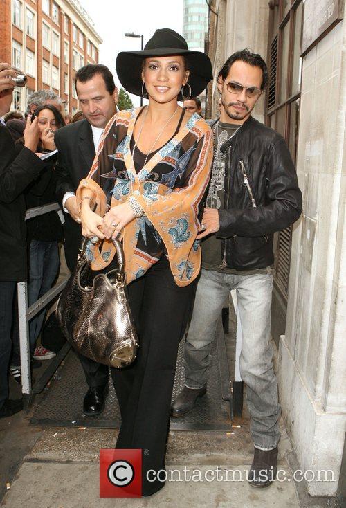 Jennifer Lopez and husband Marc Anthony leave the...