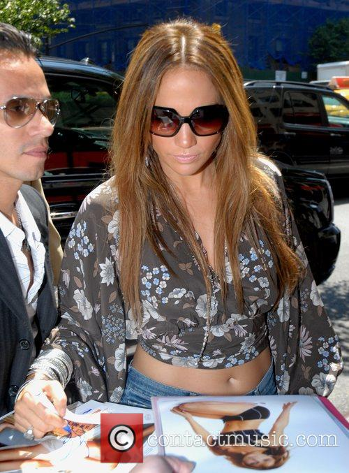 Marc Anthony and Jennifer Lopez arrive at the...