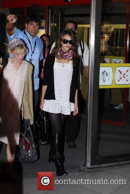 Jessica Alba arriving at 10.30pm at Tegel Airport...
