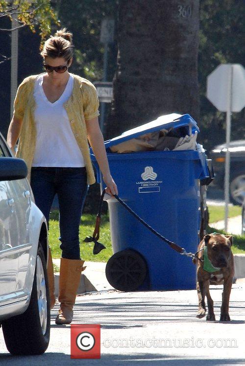 Jessica Biel walking her dog Los Angeles, California