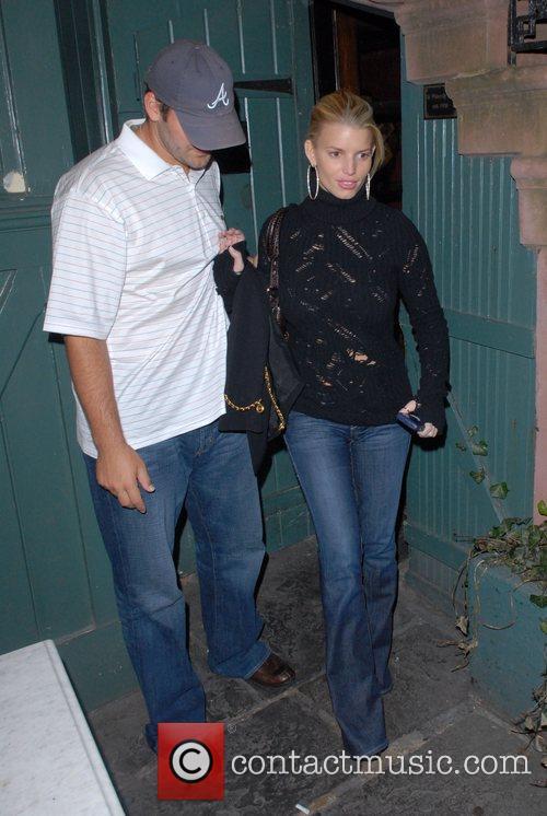Tony Romo and Jessica Simpson leaving the Waverly...