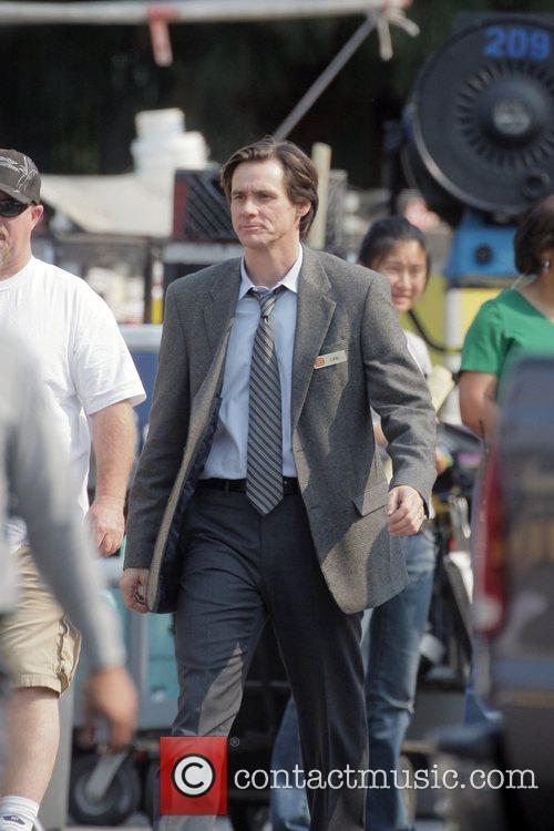 Jim Carrey on a film set