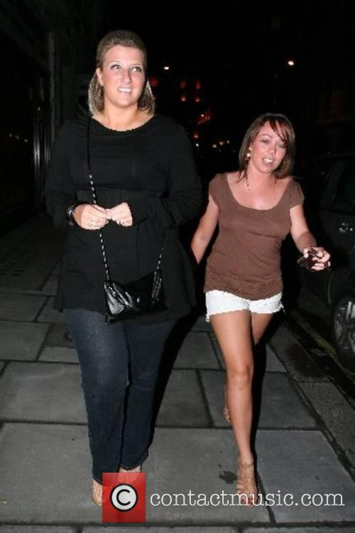 Joanne Beckham and a friend arriving at Funky...
