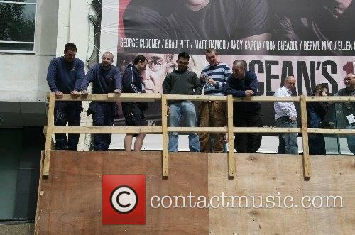 Men gather to watch Jodie Marsh promoting the...