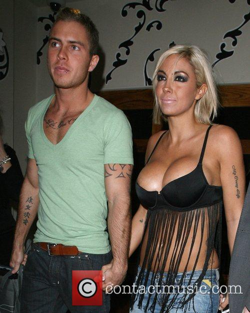 Jodie Marsh and her boyfriend leaving Orchid bar...