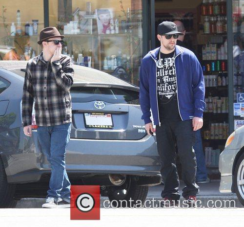 Benji Madden and Joel Madden stopping to get...