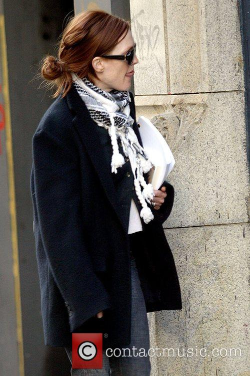 Julianne Moore carrying a movie script while out...