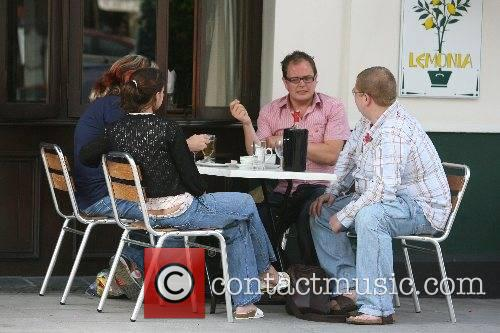 Justin Lee Collins and Alan Carr enjoy lunch...