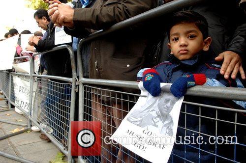 Jemima Khan and her children attend a demonstration...