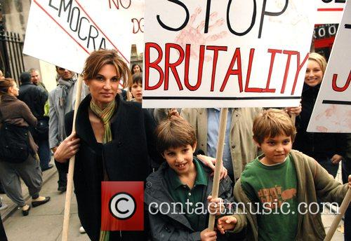 Jemima Khan and her children attend a demonstration...