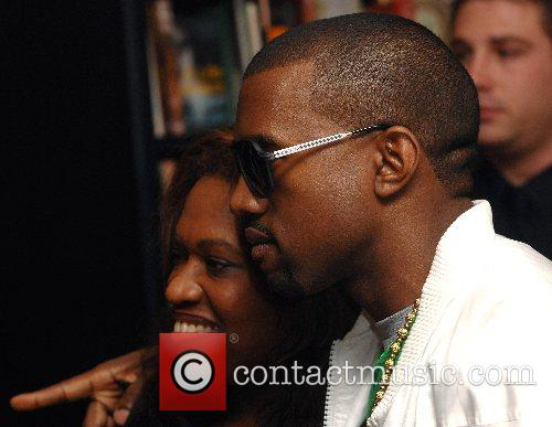 Donda West and Kanye West at the book...