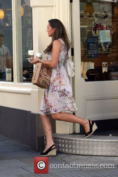 Leaves her house this morning, buys a coffee...