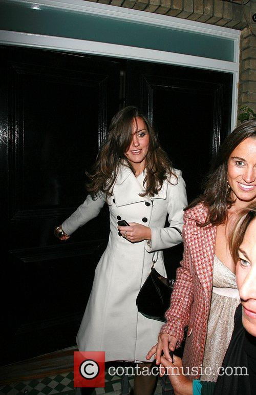 Kate Middleton and her sister Pippa  leaving...