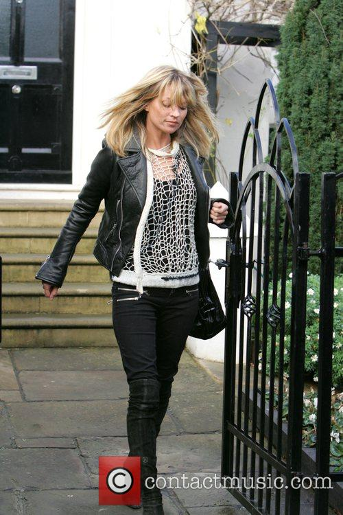 Kate Moss leaves Davinia Taylor's house this morning...