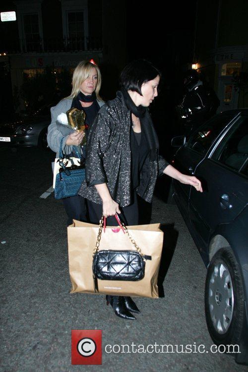 Meg Matthews and Sadie Frost leaving Julie's Restaurant...
